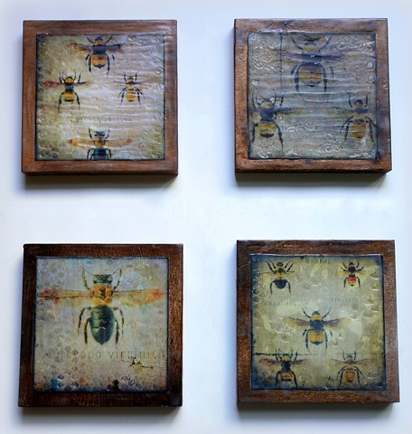 Set of Four Encaustic Mixed Media Paintings