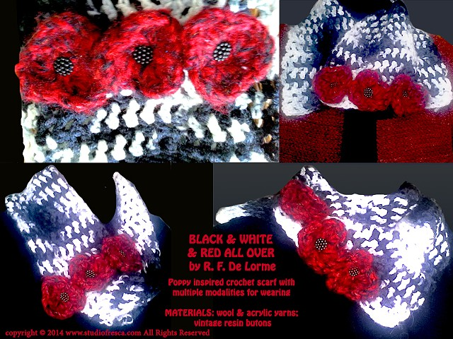 crochet, scarf, poppy, red, black, white, flower, fiber art, handmade, wool, yarn, studio fresca, poppies