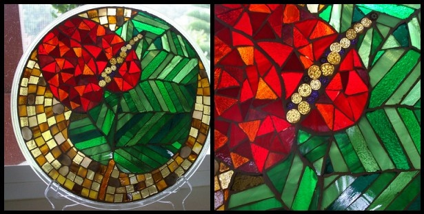 mosaic, stained glass, tropical, hawaii, studio fresca, recycled, millefiore, anthurium, kauai, round, green, red, amber