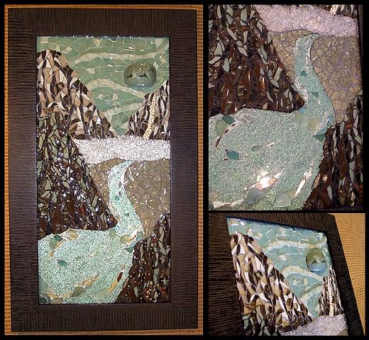 mosaic, pottery, china, temepred glass, salvaged, recycled, mirror, sea glass, pearls, kauai, hawaii, sea, cliffs, landscape, green, brown, aqua, studio fresca