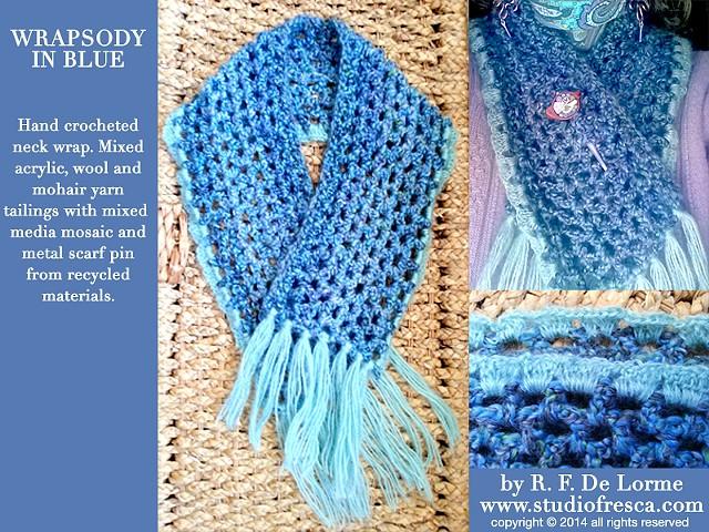 crochet, fiber, blue, yarn, scarf, lacy, studio fresca, mohair, acrylic, wool, shawl pin, scarf pin,