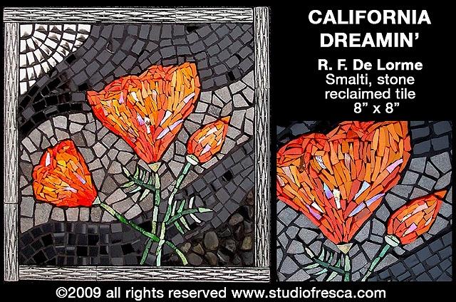 mosaic, smalti, stone, iridescent, porcelain, tile, poppy, california, recycled, salvaged, orange, black, silver,