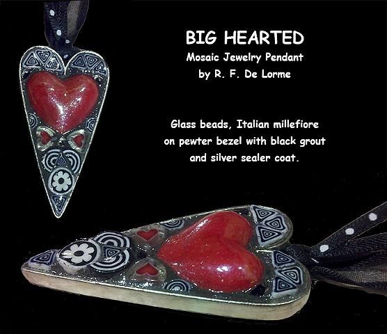 mosaic jewelry studio fresca smalti china heart red black white glass beads necklace pendant hand-made