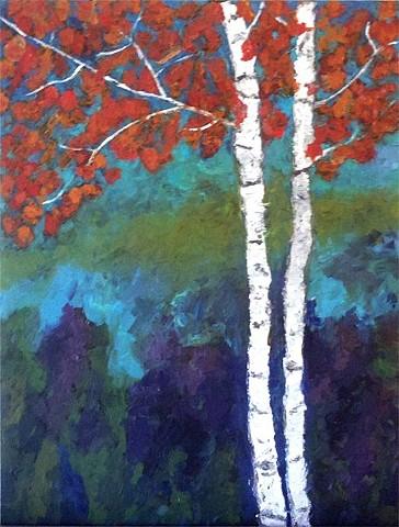 studio fresca, acrylic, painting, art, birch trees, purple,