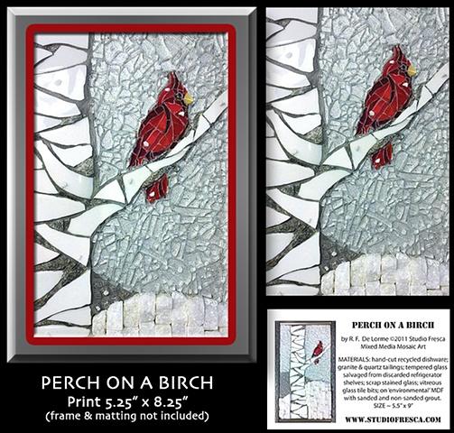 mosaic print cardinal snow birch tree bird studio fresca winter red gray white