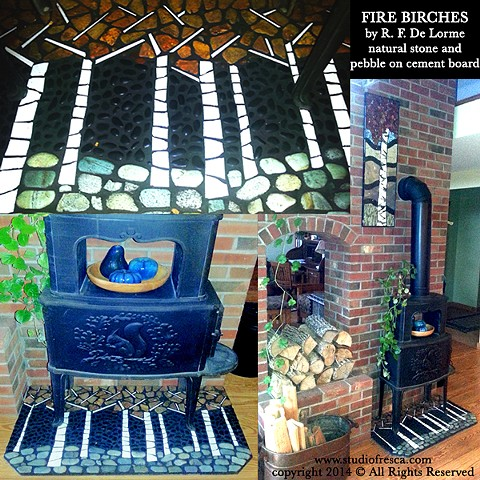 mosaic, stone, pebble, rocks, birch, birch tree, birches, black, white, green, orange, natural stone, studio fresca, fireplace, architectural, fireproof, heartwinds house,