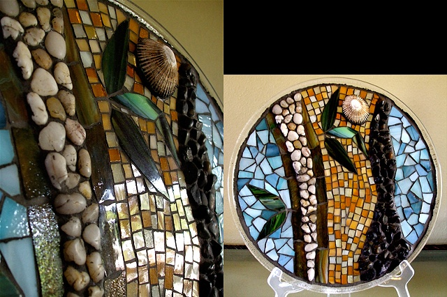 "Glass on Glass Mosaic with ""Zen"" Bamboo motif, natural pebbles and shell using recycled materials."