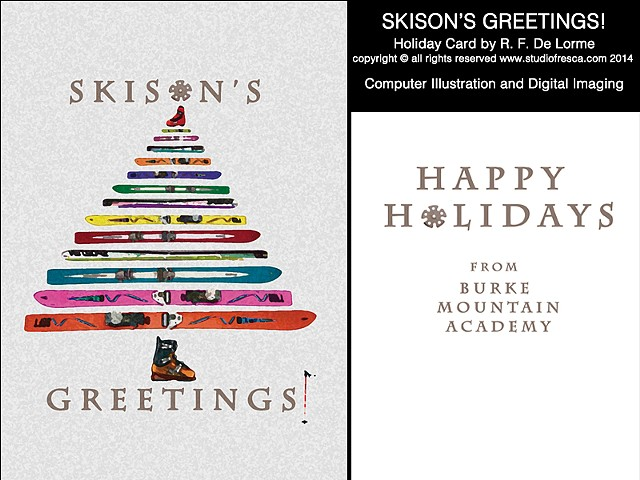 holiday card, christmas, ski, skis, graphic art, graphic design, studio fresca, ski boot, ski pole, colorful, tree, christmas tree,