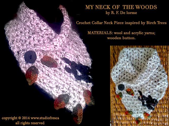 crochet, scarf, neck piece, collar, birch, tree, leaves, leaf, black, white, green, orange, red, wool, yarn, studio fresca, fiber arts,