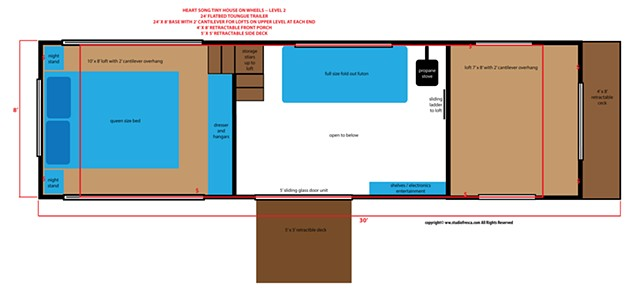 tiny house, trialer, on wheels, architecture, desing, layout, plans, studio fresca, small home