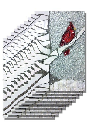 Mosaic Oversized Post Cards Cardinal snow winter