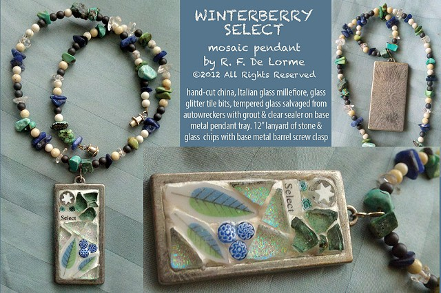 mosaic jewelry studio fresca china millefiore tree tempered glass glitter tile white blue green glass necklace pendant hand-made winter