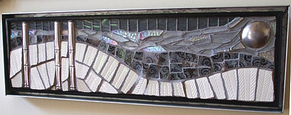 mosaic, mixed-media, china, dishes, pique assiette, silverware, stainless steel, glass, recycled, salvaged, winter, vermont, landscape, white, gray, black, vermont, sue zipkin, snow,