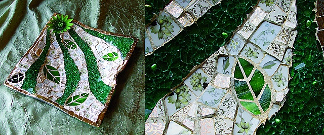 "Mixed-Media Mosaic art is the ultimate ""Green Piece"" created from tempered glass salvaged from auto wreckers, fresh water pearls, vintage china with hand painted gold accents and vintage brooch from recycled materials."