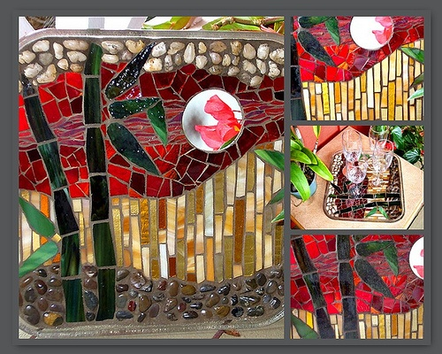 Glass on Glass mosaic with bamboo motif, natural stone, mirror. Red, green, gold. Decoration or serving tray.