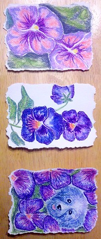 studio fresca, watercolor, color pencil, pansies, dog, flowers, triptych, art, painting,