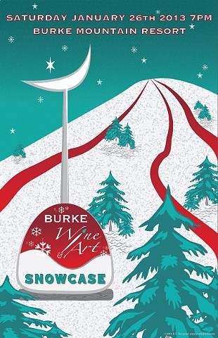 art, winter, poster, wine tasting, artists, burke mountain, snow, trees, skiing, moon, stars, teal, red, white, studio fresca,