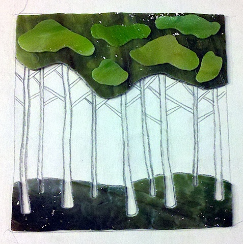 mosaic, art, glass, stained glass, doctors without borders, auction, benefit, studio fresca, recycled, salvaged, trees, forest, sketch, abstract