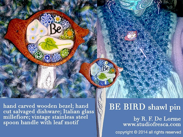 mosaic, jewelry, bird, milliefiore, glass, studio fresca, shawl pin, scarf pin, wood, stainless steel, flatware, spoon, handle, leaf, leaves, hand made, picassite, pique assiette, recycled, salvaged, upcycled,