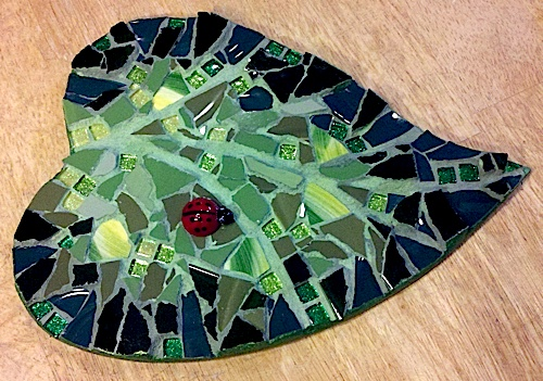 mosaic, mirror, installation, wall, large, pique assiette, china, recycled, salvaged, cancer care, hospital, donation, sunflower, yellow, construction, site, work in progress, studio fresca