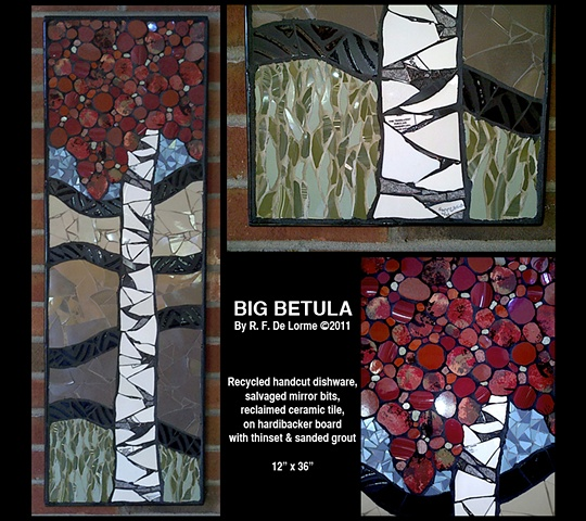 Pique assiette mosaic of Birch tree in autumn hand cut from recycled dishes, salvaged mirror and ceramic tile.