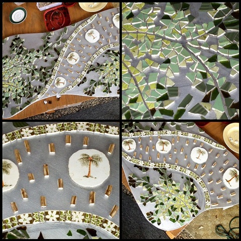 work in progress beige, brown taupe pique assiette mosaic art table palm leaf tropical green white bamboo retro modern studio fresca kauai hawaii tabletop custom made decor furniture dishware china