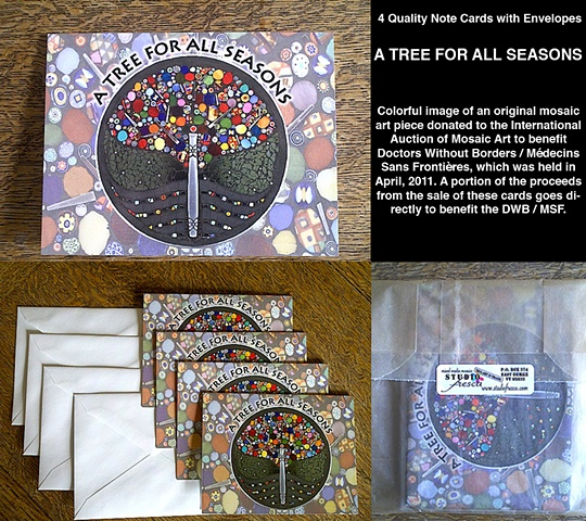 mosaic note cards, millefiore, tree, holdiay, christmas, paper goods,