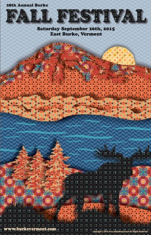 poster, burke, east burke, vermont, studio fresca, moose, fall, foliage, northeast kingdom, orange, blue, black, red, texture, unique, quilting, fabric,