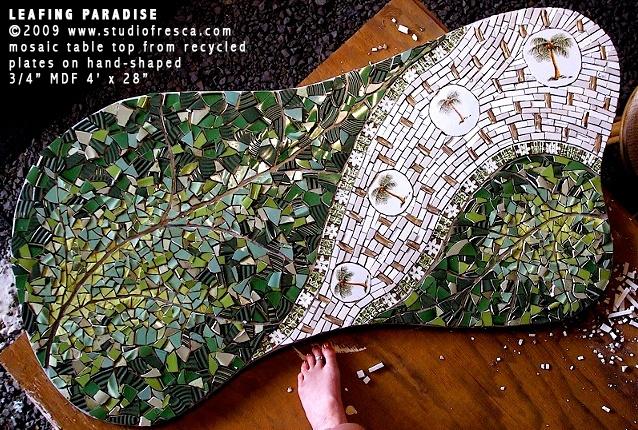 mosaic art table palm leaf tropical green white bamboo retro modern studio fresca kauai hawaii tabletop custom made decor furniture