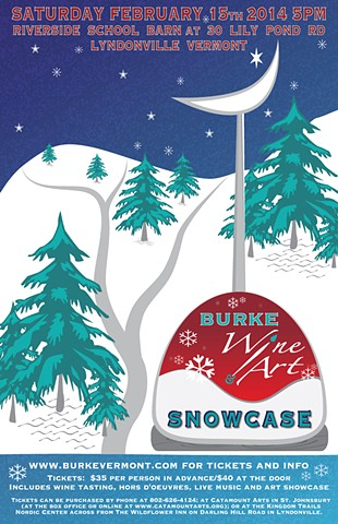 poster, winter, vermont, wine, art, snow, mountain, burke, studio fresca, event, blue, red, aqua, pine trees, illustrated, digital, wine glass, stars, moon,