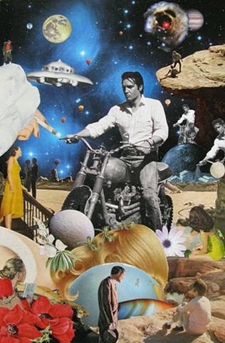 Elvis Presley and some clones ride in space on their motorcycles, Cosmic Art, Otherworldly, Surrealism