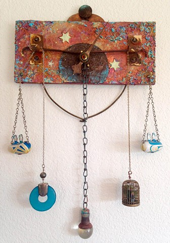 plaque, rust, stars, wall hanging, glow-in-the-dark, mixed-media, steampunk, copper, cosmic, diorama, 3-D, assemblage by Shawn Marie Hardy