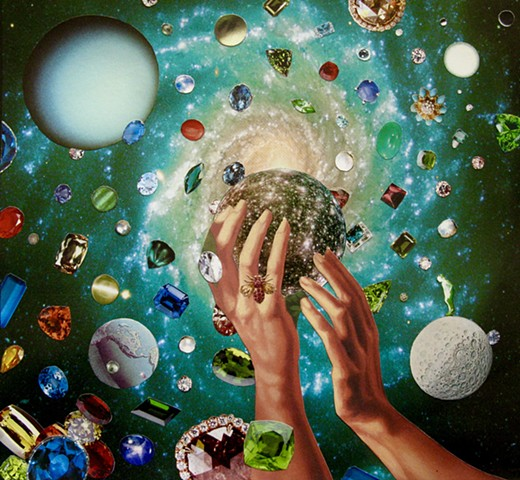 She's trading planets for jewels and showing off her hands in a local galaxy and faraway lands. By Shawn Marie Hardy, Collage-a-Dada
