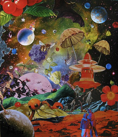 Original art, Hand-cut analog surreal collage on paper featuring Dinosaurs, an alien, the Cosmos, Universe, Gems, Stars, a rocketship, mushrooms, cherries, a bat, and some flowers