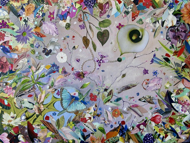 Colorful Representational Abstract Mixed-Media Collage Painting on Canvas feature Insects and Flowers