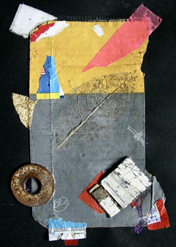 Abstract Found object art with cardboard, metal, foil, glitter nail polish, candy wrappers, and a leaf skeleton