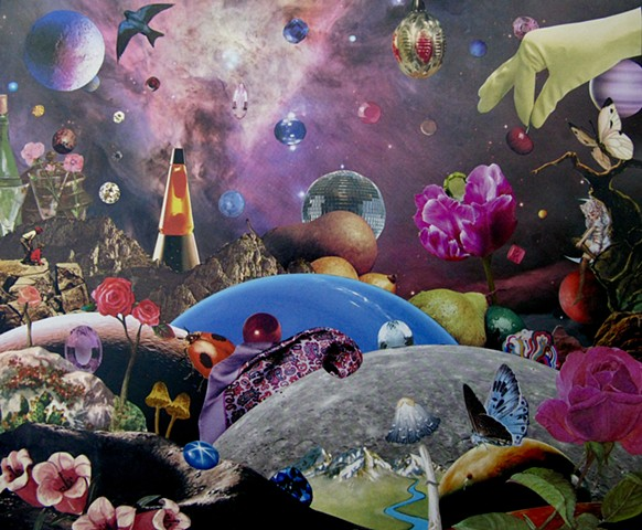 Original art, Hand-cut analog surreal collage on paper featuring a disco ball, some fruit, Planets, the Cosmos, Universe, Gems, Stars, a Lava Lamp, a rose and flowers, a woman on the moon, butterflies, and the colors pink and purple