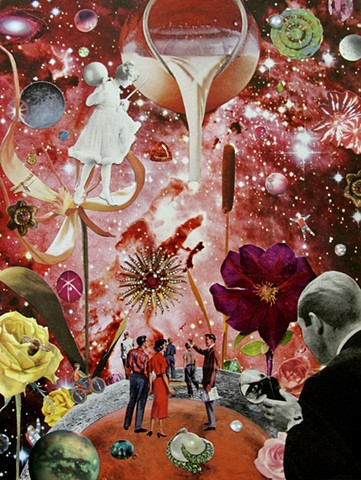 She traverses the galaxy fulfilling dreams stopping at the milky way for a quick sip of cream. Look at all that surrealism! By, Shawn Marie Hardy, Collage-a-Dada