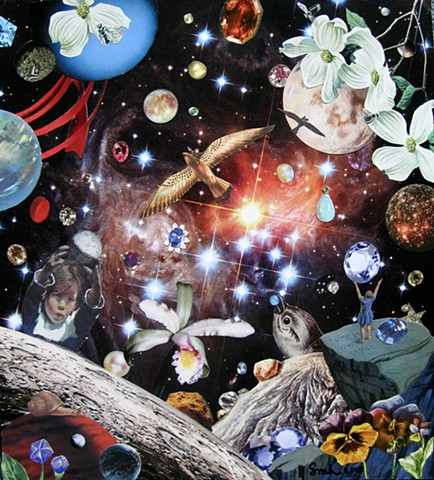 Surreal Analog Collage showing how cool it is in outer space when it's full of jewels, birds, flowers, stars, children, and planets.