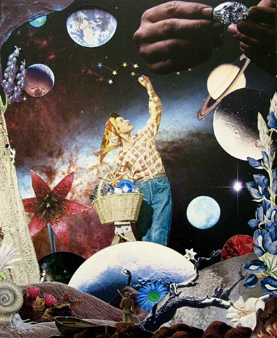 This lovely woman is harvesting stars from the universe and tidying up the planet. What a lovely earthly garden she tends. By Shawn Marie Hardy, Collage-a-Dada