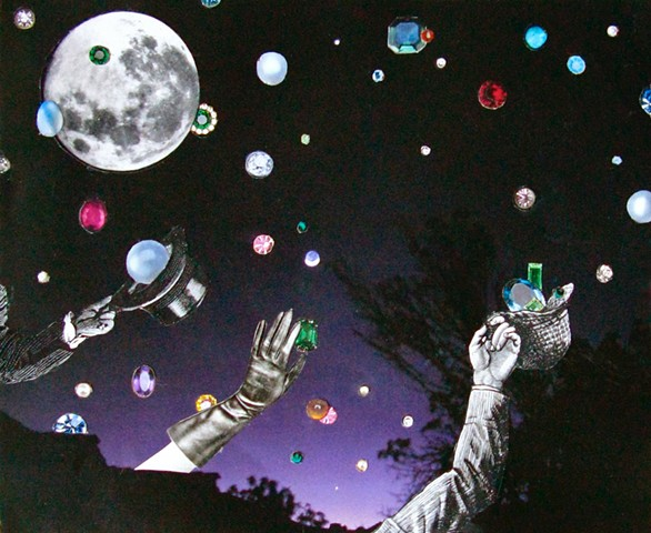 Jewels and stars and planets can all be collected by hands holding hats. Analog collage, surrealism, collage-a-dada, shawn marie hardy