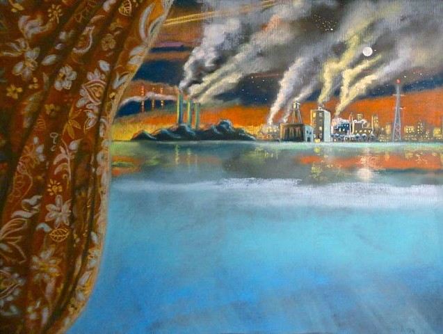 Pastel drawing of a surreal industrial landscape with floral curtain and lots of smoke. By Shawn Marie Hardy, Collage-a-Dada