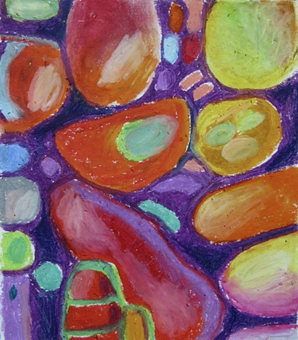 Abstract colorful oil pastel depicting organic shapes in purple, orange, green, and red, like cells.