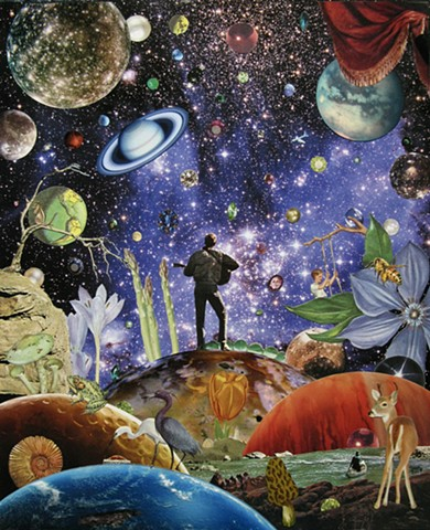 Original art, Hand-cut analog surreal collage on paper featuring a Guitar Player, Planets, the Cosmos, Universe, Gems, Stars, a deer, a boy on a swing, a canoe, flowers, heron, and the color purple