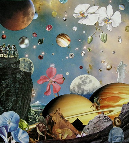 Original art, Hand-cut analog surreal collage on paper featuring Cowboys, Planets, the Cosmos, Universe, Gems, Stars, a Train, Orchids and other flowers, and the color turquoise