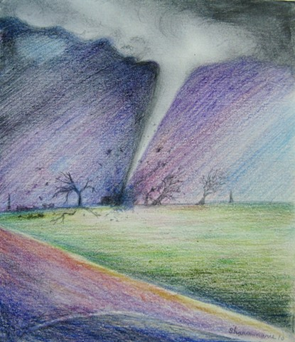 Stormchasing is fun when there's a tornado along the path. Surreal drawing in purple, blue, and green