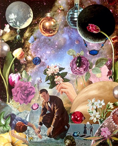 Things are a'buzz in outer space with planets, flowers, flies, jewels, and happy and unhappy couples. Death does not become her. Analog collage
