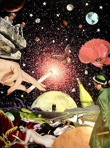 Original art, Hand-cut analog surreal collage on paper featuring a nude woman, a poppy, a bottle of wine, Planets, the Cosmos, Universe, Gems, Stars, a sunbathers, a stargazer, a woman lighting a cigarette, a butterfly, and the colors red and green