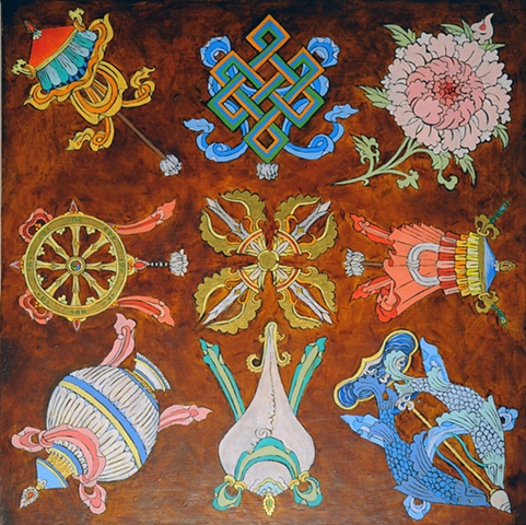 EIGHT AUSPICIOUS SYMBOLS AND CROSSED VAJRA Thangka