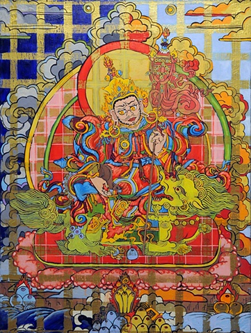 GOD OF WEALTH - Vaishravana tibetan thangka by Brian Batista